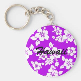 Hawaiian púrpura llavero redondo tipo pin