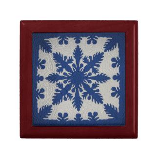 Hawaiian Quilt Blue Jewelry Box