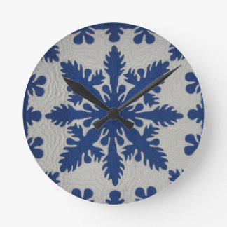 Hawaiian Quilt Blue Wall Clocks