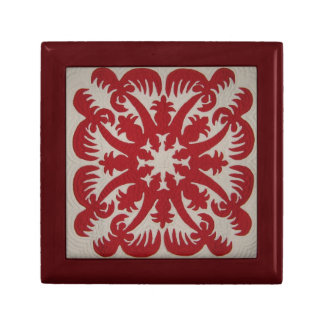 Hawaiian Quilt Red Trinket Boxes