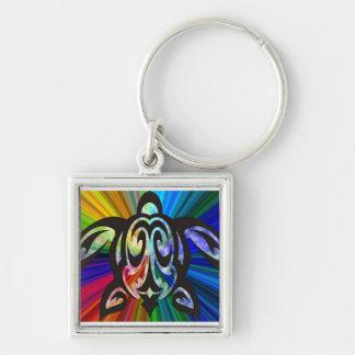 Hawaiian rainbow turtle keychain Silver-Colored square keychain