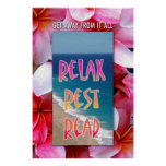 "Hawaiian Reading poster. ""Relax. Rest. Read."""