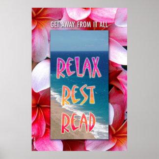 "Hawaiian Reading poster. ""Relax. Rest. Read."""
