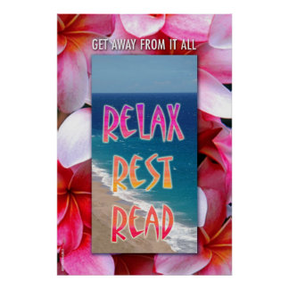 "Hawaiian Reading poster. ""Relax. Rest. Read."" Poster"
