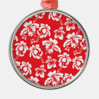 Hawaiian Red Flowers Metal Ornament