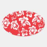 Hawaiian Red Flowers Oval Sticker