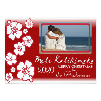Hawaiian red hibiscus fade photo holiday cards