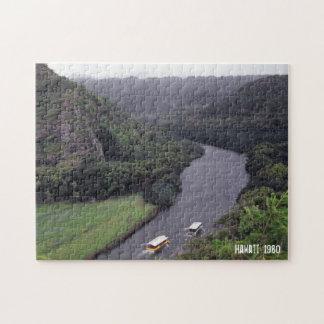 Hawaiian River Landscape Tropical Scenery Boats Jigsaw Puzzle