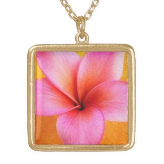 Hawaiian rosado de la flor de Hawaii del Colgante Cuadrado