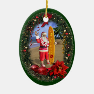Hawaiian Santa Double-Sided Oval Ceramic Christmas Ornament