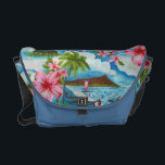 """Hawaiian Scene in Pastel Colors Messenger Bag<br><div class=""""desc"""">Tropical design showing Hawaiian outrigger canoes and pink hibiscus flowers on a blue ocean and sky background</div>"""