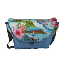 Hawaiian Scene in Pastel Colors Messenger Bag