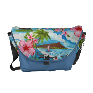 Hawaiian Scene in Pastel Colors Messenger Bag