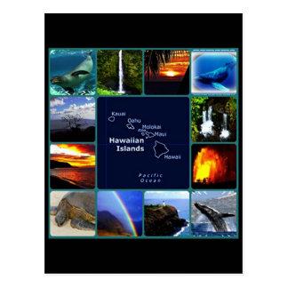 Hawaiian scenes collage postcard