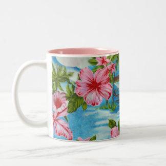 Hawaiian Scenes in Pastel Colors Two-Tone Coffee Mug