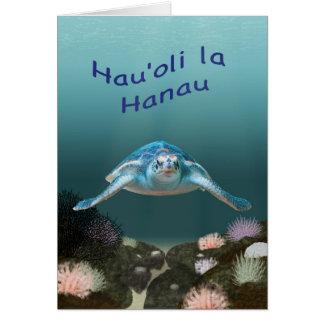 Hawaiian sea turtle birthday card