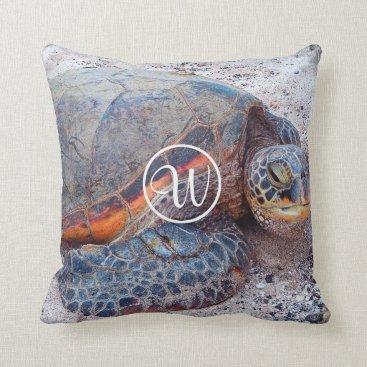 Beach Themed Hawaiian sea turtle photo custom monogram pillow