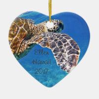 Hawaiian Sea turtle swimming Ceramic Ornament