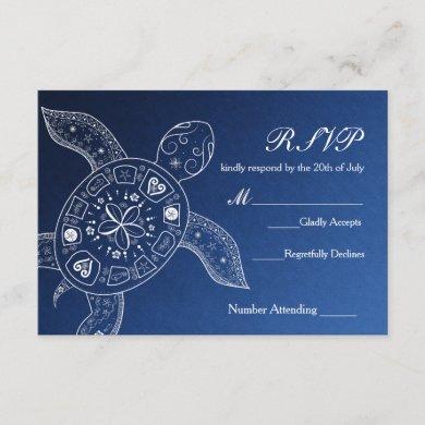 Hawaiian Sea Turtle White Blue Beach Wedding RSVP