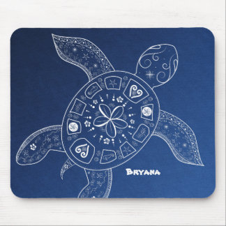 Hawaiian Sea Turtle White on Blue Beach Tropical Mouse Pad