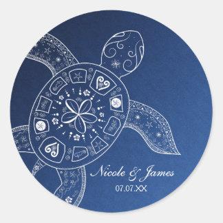 Hawaiian Sea Turtle White on Blue Beach Wedding Classic Round Sticker