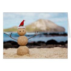 Hawaiian Snowman Christmas Card at Zazzle