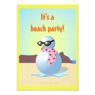Hawaiian Snowman Funny Beach Party Invites Templat