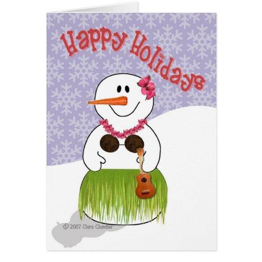 Hawaiian SnowWoman Template Greeting Card