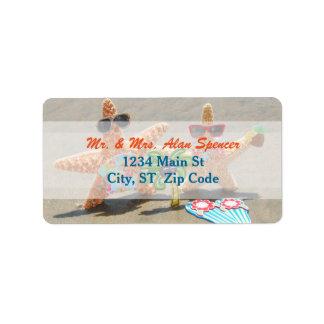 Hawaiian Starfish Couple Medium Address Labels