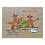"Hawaiian Starfish Couple Save The Date Cards 4.25"" X 5.5"" Invitation Card"