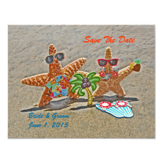 Hawaiian Starfish Couple Save The Date Cards Announcement