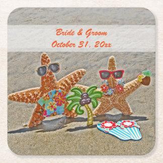 Hawaiian Starfish Couple Wedding Paper Coasters