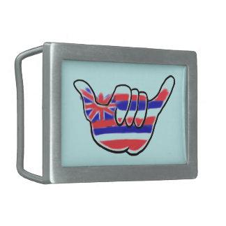 Hawaiian state flag shaka symbol belt buckle