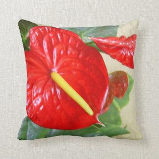 Hawaiian Style Anthurium Throw Pillow