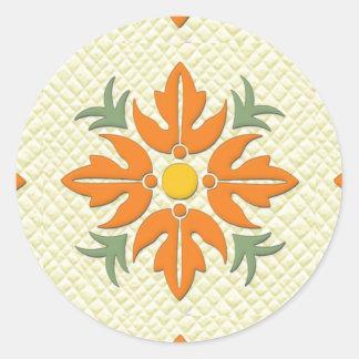 Hawaiian Style Flower Quilt Orange & Yellow Classic Round Sticker