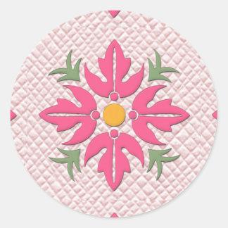 Hawaiian Style Flower Quilt Pink Classic Round Sticker