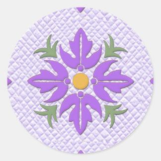 Hawaiian Style Flower Quilt Purple Classic Round Sticker