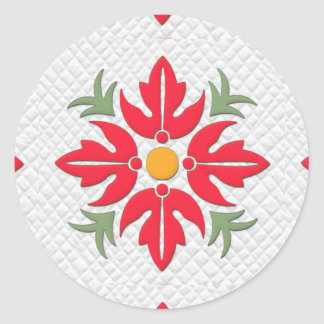 Hawaiian Style Flower Quilt Red Classic Round Sticker