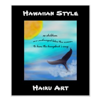 Hawaiian Style Humpback Whale Haiku Art Print print