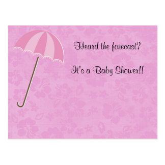 Hawaiian Style Pink Baby Shower Invitation Postcard