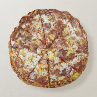 Hawaiian Style Pizza with Pepperoni Yum Round Pillow