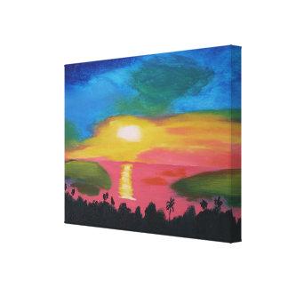 Hawaiian Sunset Acrylic Painting Canvas Print