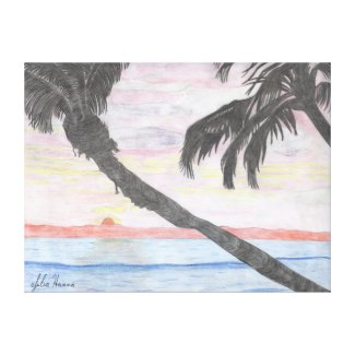 Hawaiian Sunset by Julia Hanna Stretched Canvas Print