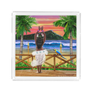Hawaiian Sunset Hula Dancer Acrylic Tray