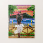 """Hawaiian Sunset Hula Dancer Jigsaw Puzzle<br><div class=""""desc"""">Escape,  enjoy,  be happy whenever you begin to view this tropical island in the South Pacific loving you with a cute Hawaiian sunset hula dancer.</div>"""