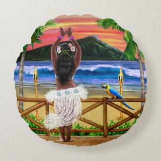 Hawaiian Sunset Hula Dancer Round Pillow