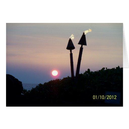 Hawaiian Sunset Luau Gifts Greeting Card