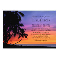 Hawaiian Sunset Palm Tree Beach Themed Wedding Invitation
