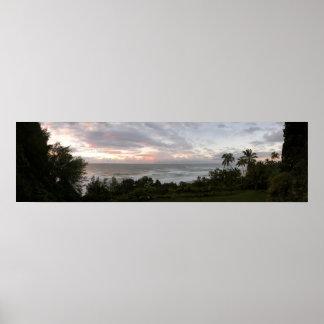 Hawaiian sunset panoramic poster