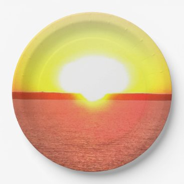 Beach Themed Hawaiian Sunset Paper Plates